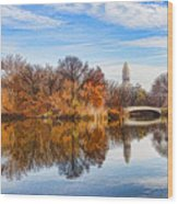 New York City Central Park Bow Bridge - Impressions Of Manhattan Wood Print