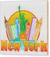 New York City Colorful Skyline In Circle Impressionist Illustrat Wood Print