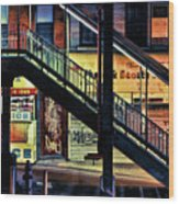New York City Elevated Subway Stairs Wood Print