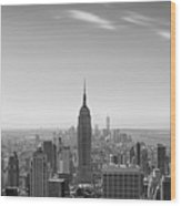 New York City - Empire State Building Panorama Black And White - 2015 Edition Wood Print