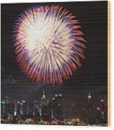 New York City Fireworks Wood Print