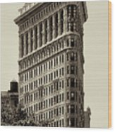 New York City - Flatiron In Sepia Wood Print