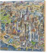 New York City Illustrated Map Wood Print