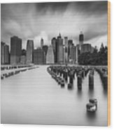 New York City In Black And White Wood Print