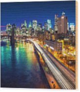 New York City Lights Blue Wood Print