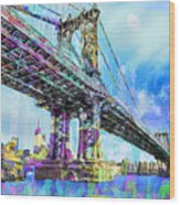 New York City Manhattan Bridge Blue Wood Print