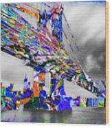 New York City Manhattan Bridge Pure Pop Blue Wood Print