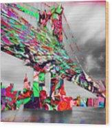 New York City Manhattan Bridge Pure Pop Red Wood Print