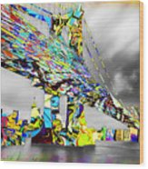 New York City Manhattan Bridge Pure Pop Gold Wood Print