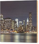 New York City - Manhattan Waterfront At Night Wood Print