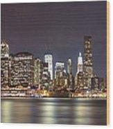 New York City - Manhattan Waterfront At Night Wood Print