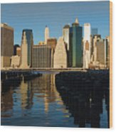 New York City Morning Reflections - Impressions Of Manhattan Wood Print