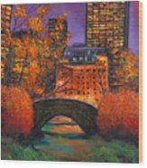 New York City Night Autumn Wood Print