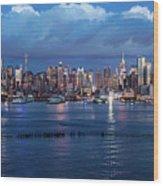 New York City Nyc At Dusk Wood Print