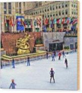 New York City Rockefeller Center Ice Rink Wood Print