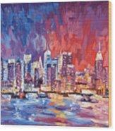 New York City Skyline 02 Wood Print