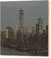 New York City Skyline Aerial - Lower Manhattan Wood Print