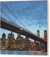 New York City Skyline By Night Wood Print
