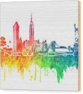 New York City Skyline Color Wood Print