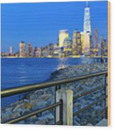 New York City Skyline From Liberty State Park In Jersey City New Jersey #3 Wood Print