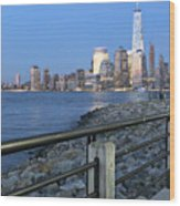 New York City Skyline From Liberty State Park In Jersey City New Jersey #4 Wood Print