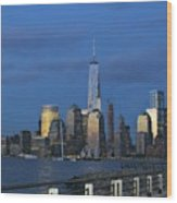 New York City Skyline From Liberty State Park In Jersey City New Jersey Wood Print