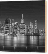 New York City Skyline Panorama At Night Bw Wood Print