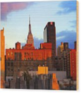 New York City Skyline Sunset Wood Print