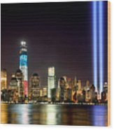 New York City Skyline Tribute In Lights And Lower Manhattan At Night Nyc Wood Print