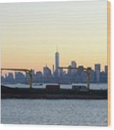 New York City Skyline With Passing Container Ship Wood Print