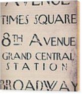 New York City Street Sign Wood Print