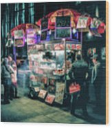 New York City Street Vendor Wood Print