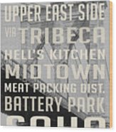 New York City Subway Stops Vintage Brooklyn Bridge Wood Print
