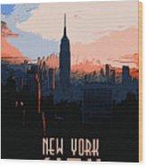 New York City Sunset Wood Print