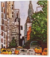 New York City Taxis Wood Print