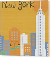New York City Vertical Skyline - Empire State At Dawn Wood Print