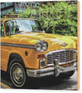 New York City Yellow Checker Taxicab Wood Print