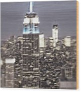 New York Empire State Building Blurred  Wood Print