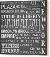 New York Famous Landmarks Wood Print