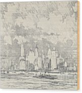 New York From Ellis Island Wood Print
