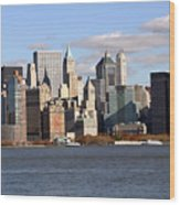 New York From Ferry Wood Print