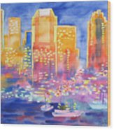 New York Great City Silhouettes.2007 Wood Print