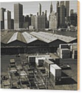 Old New York Harbor Skyline Wood Print