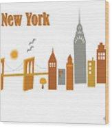 New York Horizontal Scene - Brooklyn Bridge Wood Print