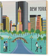 New York Horizontal Skyline - Central Park Wood Print