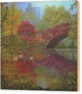 New York In Fall Wood Print