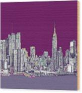 New York In Purple Wood Print by Adendorff Design