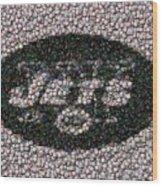New York Jets Bottle Cap Mosaic Wood Print