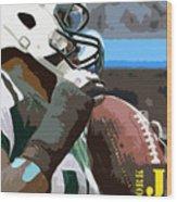 New York Jets Football Team And Original Yellow Typography Wood Print