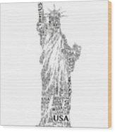 New York Lady Liberty Words Wood Print